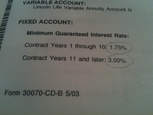 Annuity Contract Inside Page Close Up